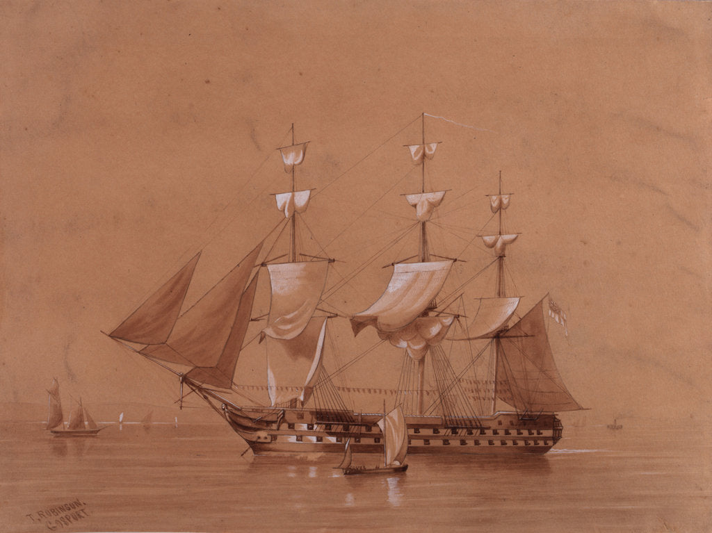 Detail of HMS 'Revenge' (1805) by T. Robinson