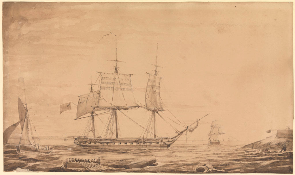 Detail of HMS 'Barham' dropping out of Sheerness Harbour, 7th February 1836 by Francis Byron