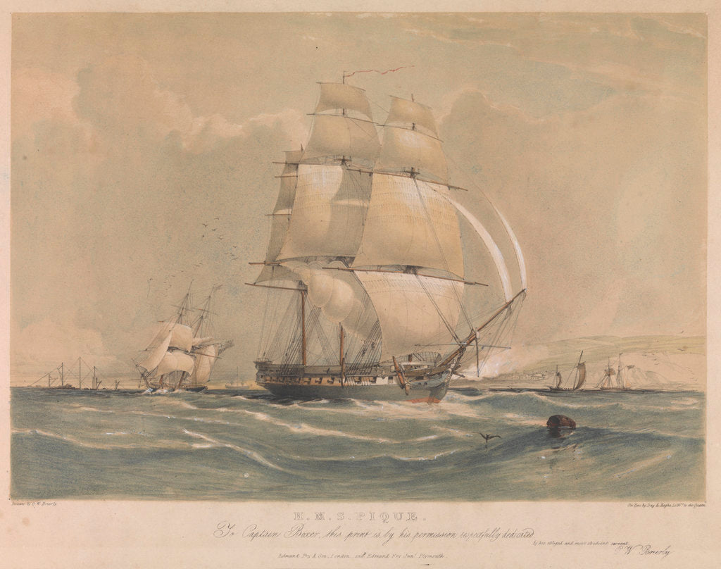 Detail of H.M.S. 'Pique' To Captain Boxer this print is by his permission respectfully dedicated by Oswald Walter Brierly