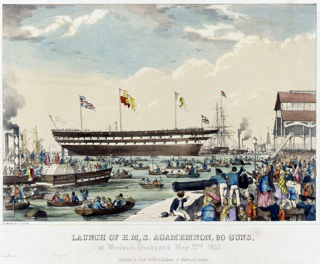 Detail of Launch of HMS 'Agamemnon', 90 guns, at Woolwich Dockyard, 22 May 1852 by A. Pernet