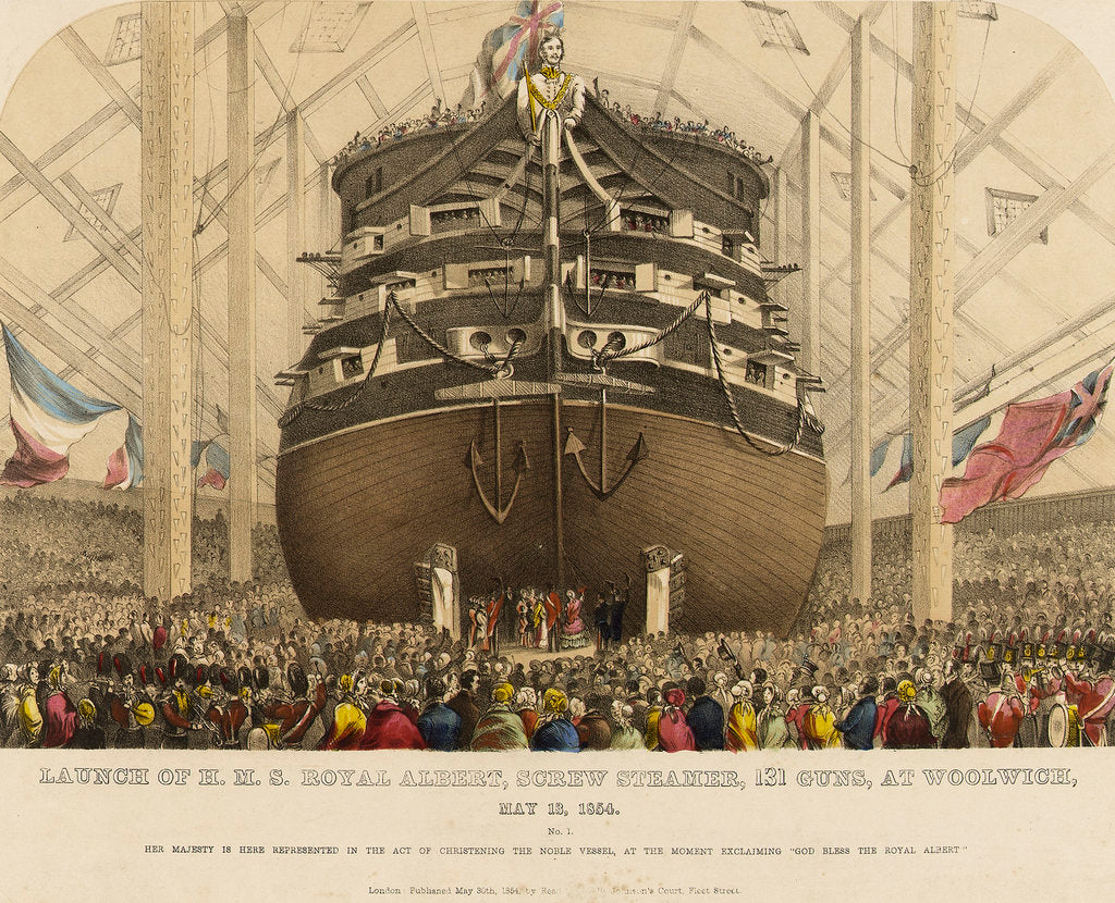 Detail of Launch of HMS 'Royal Albert' screw steamer, 131 guns, at Woolwich, 13 May 1854 by Read & Co