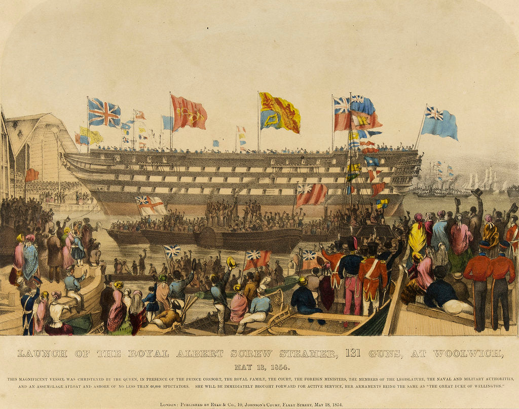 Detail of Launch of HMS Royal Albert screw steamer, 131 guns, at Woolwich, 13 May 1854 by Read & Co