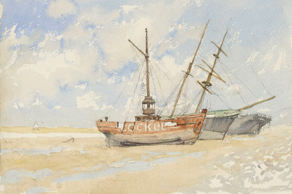 Detail of The lightship 'Cockle' near Great Yarmouth, circa 1890 by Nelson Dawson