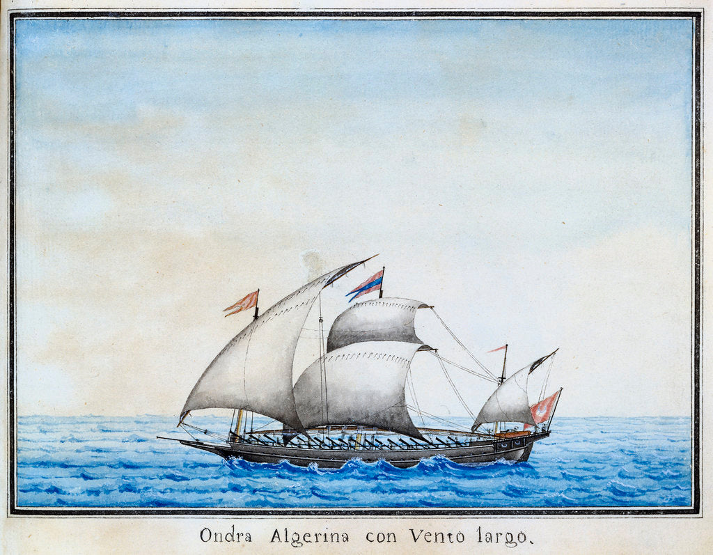Detail of Algerian galley at sea by unknown