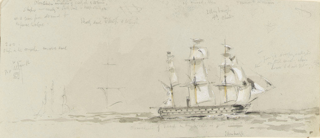 Detail of HMS 'Edinburgh', 14 March 1854 by Oswald Walter Brierly
