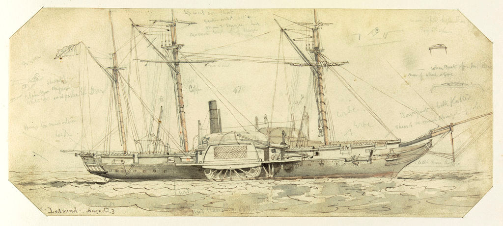 Detail of HMS 'Driver' at Ledsund, Aland Islands, 3 August 1854 by Oswald Walter Brierly