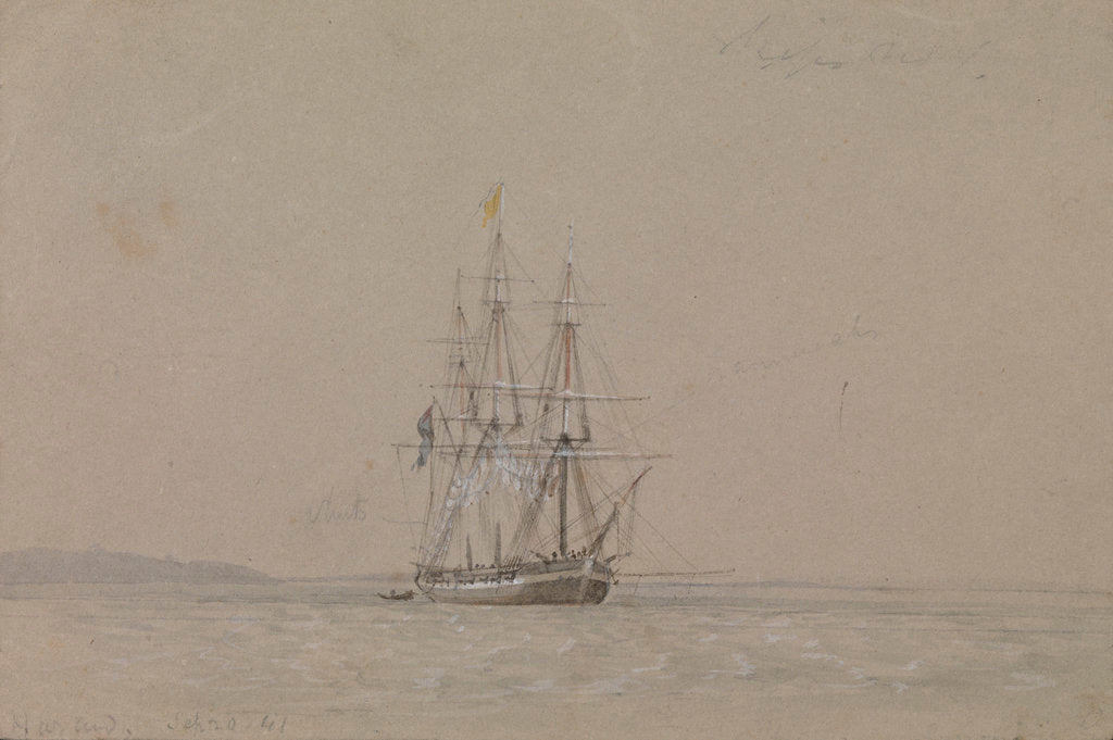 Detail of HMS 'Hazard', 20 September 1841, flying a yellow quarantine flag, with notes by Oswald Walter Brierly