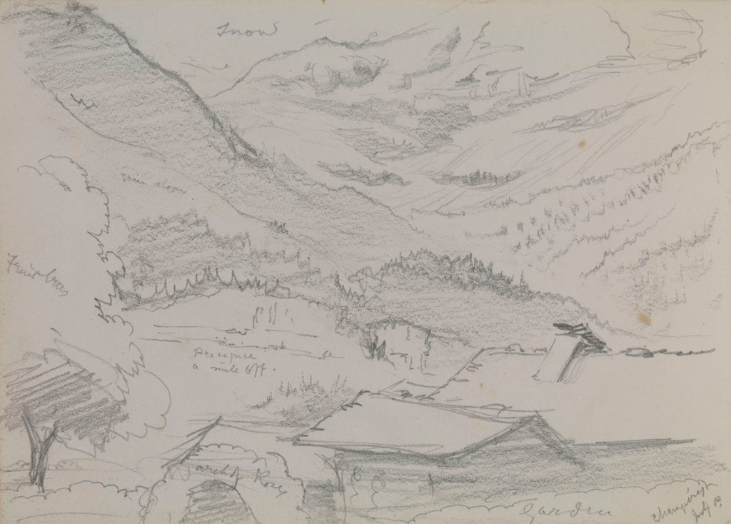 Detail of Mountainous countryside at Champery by John Brett