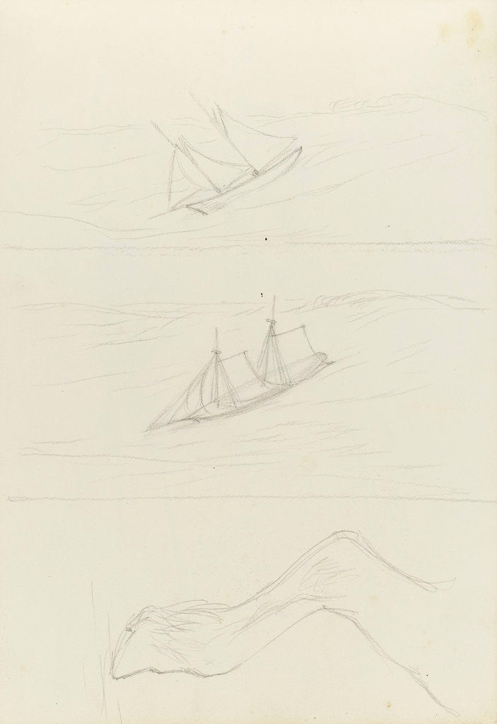 Detail of Two slight sketches of a two masted sailing craft and one of a horse's hind leg by John Brett