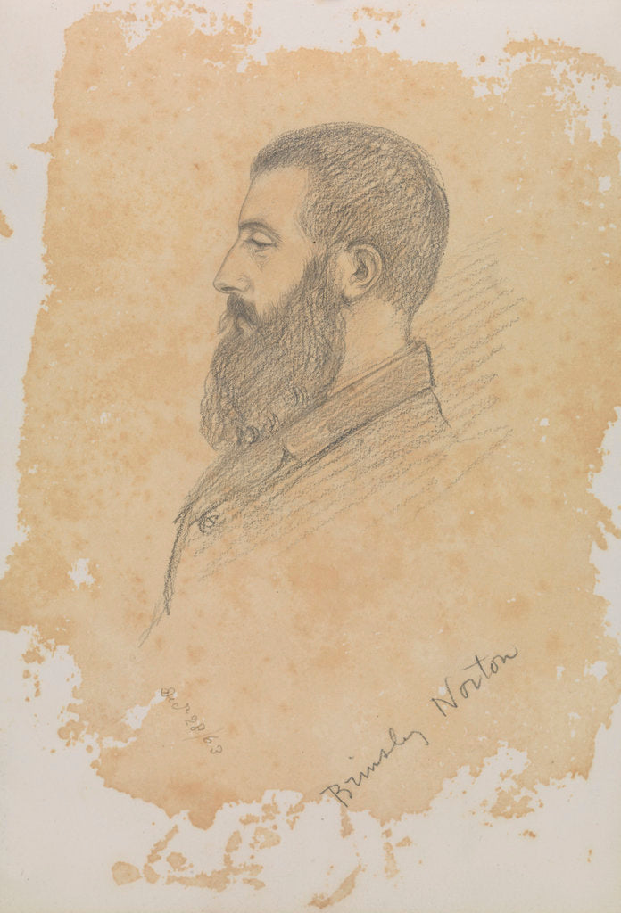 Detail of Portrait sketch of bearded man, inscribed 'Brinsley Norton' by John Brett