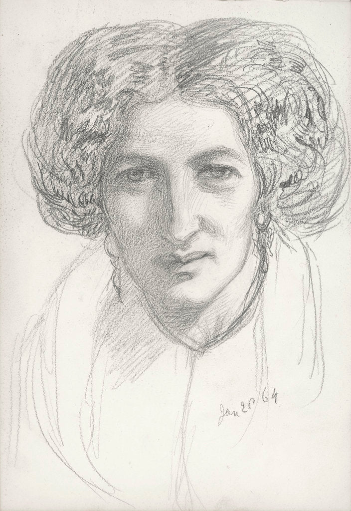 Head and shoulders portrait of a woman by John Brett