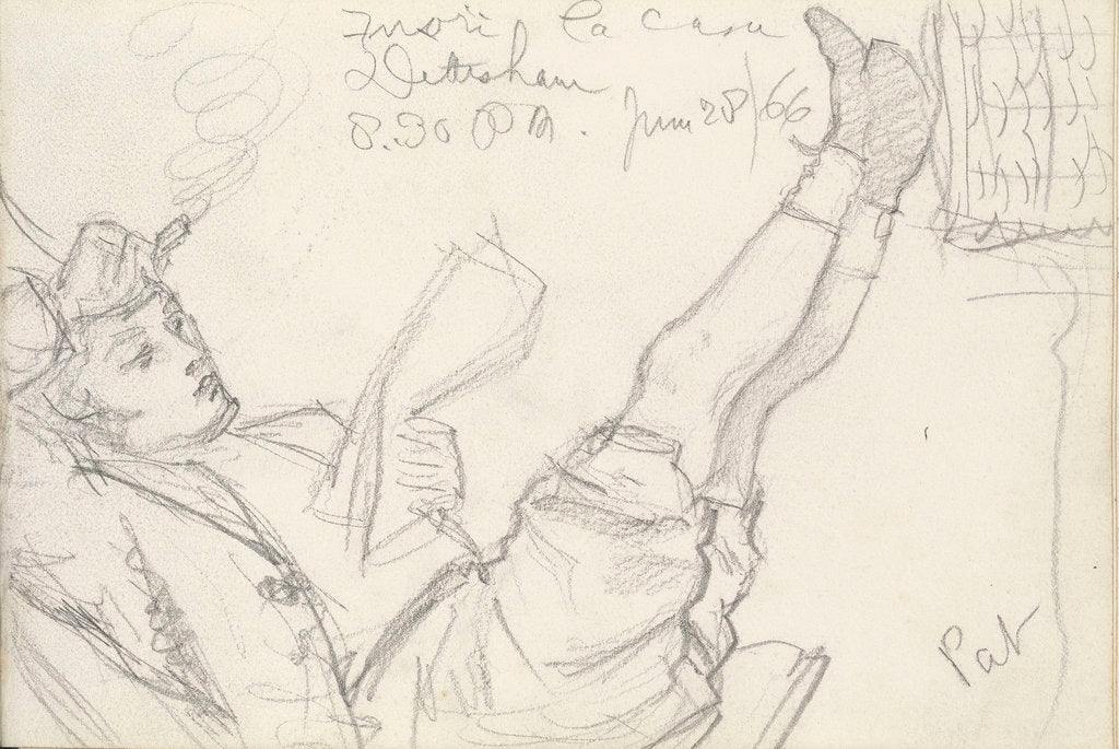 Detail of Sketch of a boy, Pat, reclining, reading with his feet up by John Brett