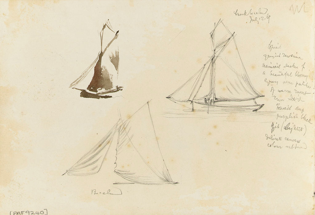 Detail of Two rough coastal profile sketches, one with a sailing vessel by John Brett