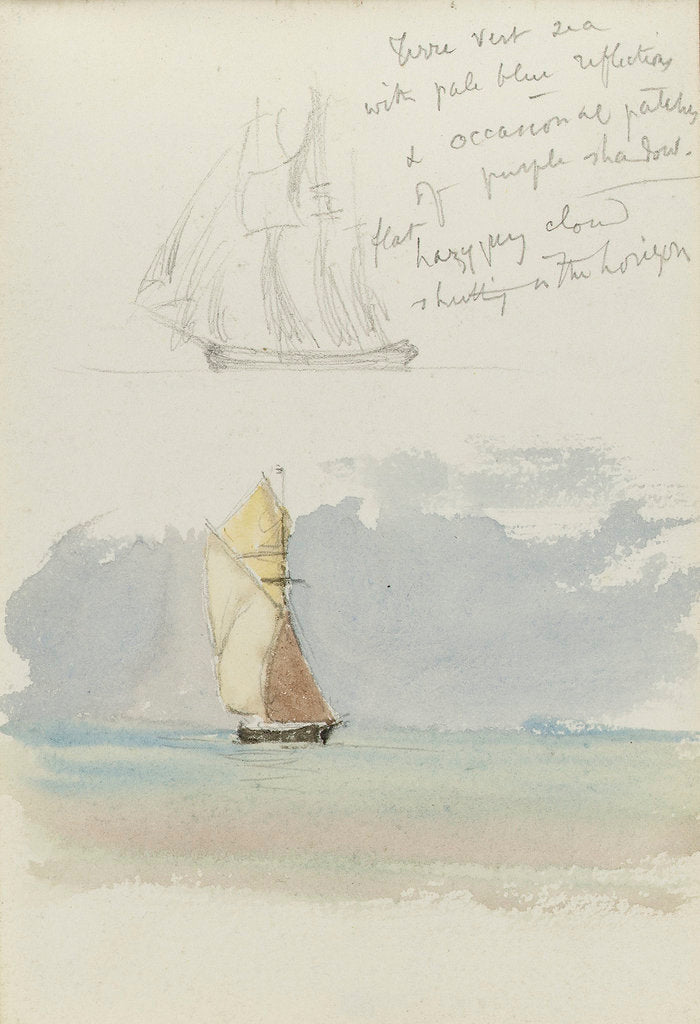 Detail of Two sketches of a sailing vessel at sea by John Brett
