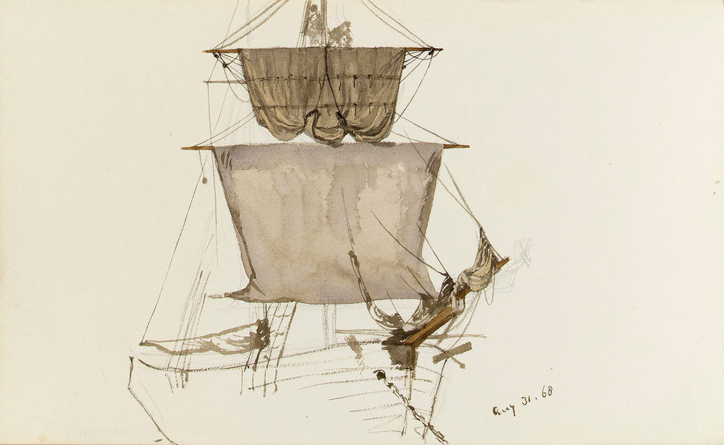 Detail of Sketch of sailing vessel with square sails - unfinished (on reverse) by John Brett