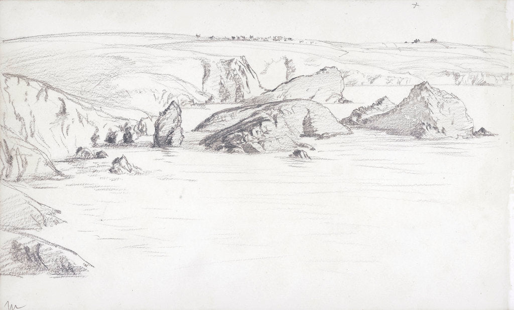 Detail of Sketch of a flat coastal view in Cornwall with rocks in the sea by John Brett