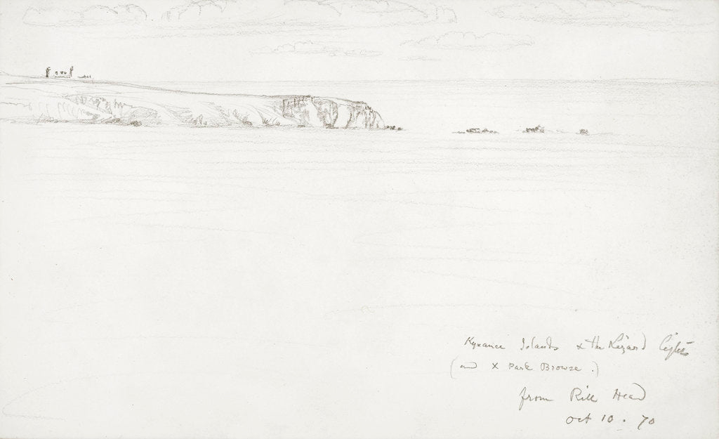 Detail of Sketch of a flat coastal view in Cornwall by John Brett