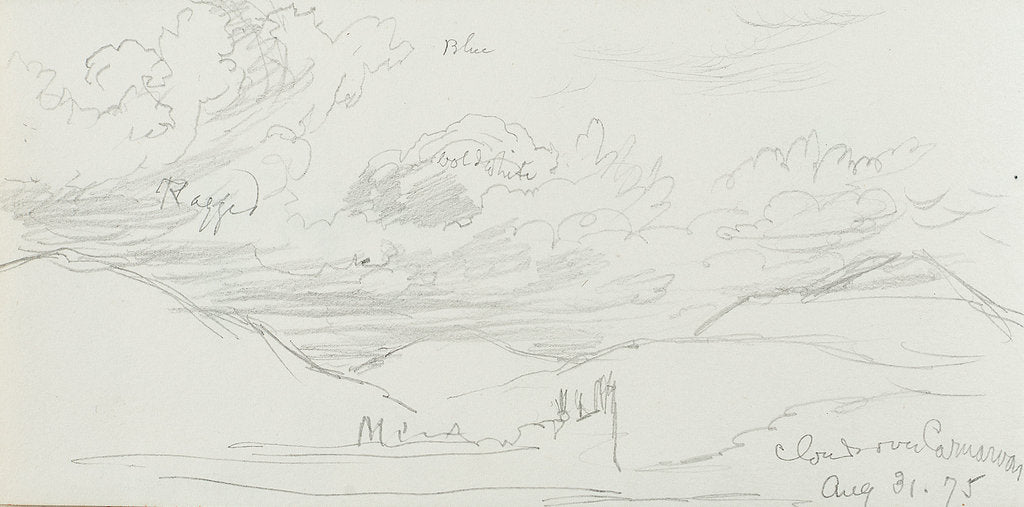 Detail of Sketch of clouds, with notes, inscribed 'Clouds over Canarvon' (on reverse) by John Brett