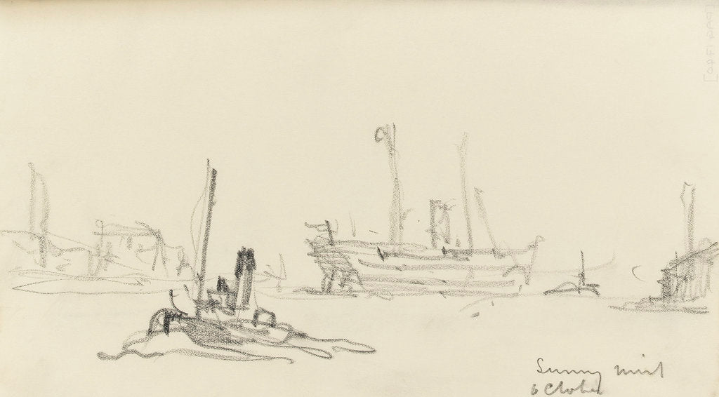 Detail of Sketch of SS Inchmore and tug in Woolwich Reach (on reverse) by Nelson Dawson
