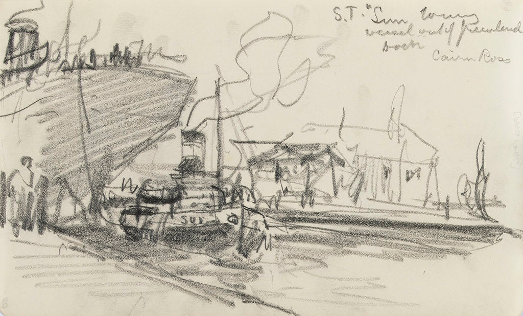 Detail of Sketch of Thames scene, 'S.T. Sun' towing the 'Cairn Ross' out of Greenland Dock (on reverse) by Nelson Dawson
