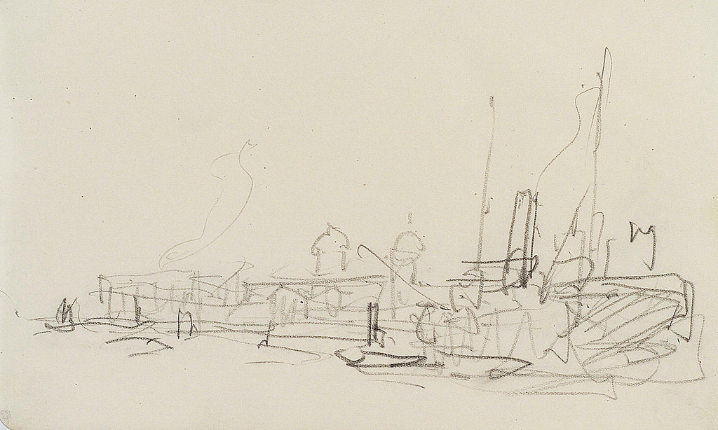Detail of Shipping in the Thames at Greenwich (on reverse of sheet) by Nelson Dawson