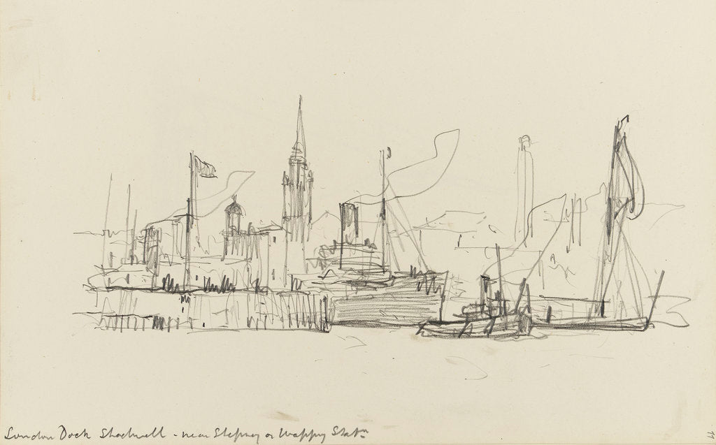 Detail of Sketch of various vessels in London Dock, Shadwell, near Stepney or Wapping Station by Nelson Dawson