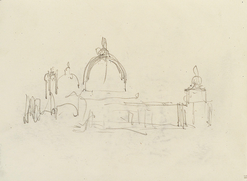Detail of Slight sketch of Santa Maria della Salute and the Dogana, Venice by Nelson Dawson
