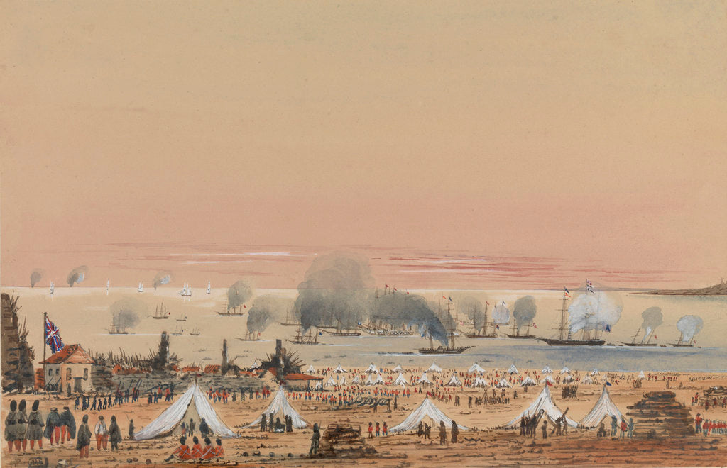 British Army encampment with a fleet off shore by Harry Edmund Edgell