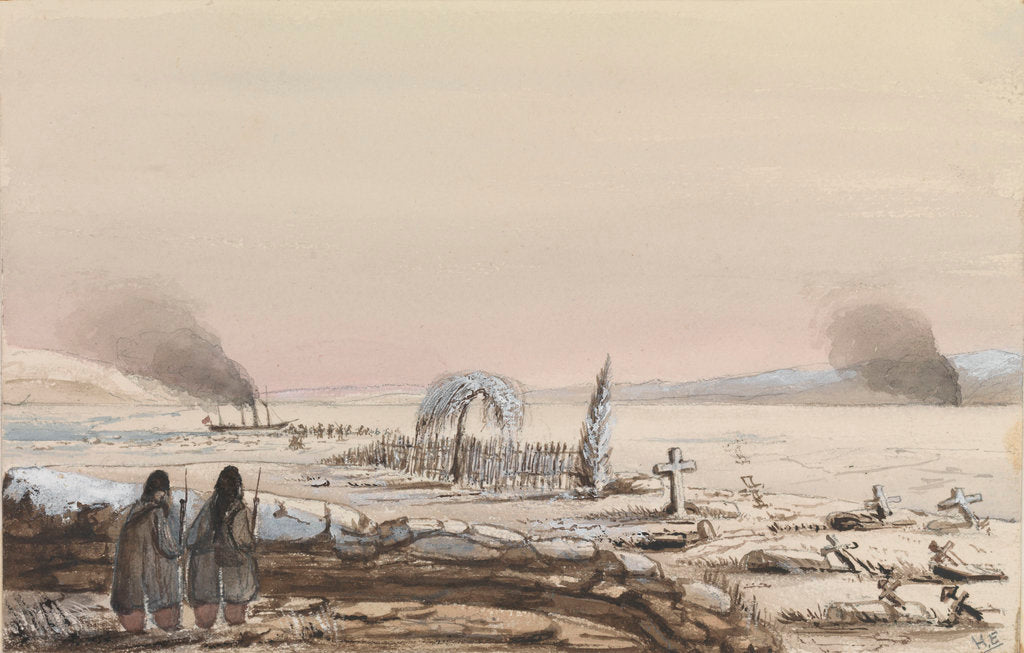 Detail of The Cemetry, Kinburn, 1855. HMS 'Tribune' cutting through the ice on the Dnieper by Harry Edmund Edgell