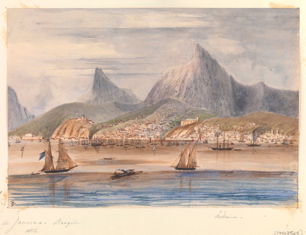 Detail of View of Rio de Janiero - Brazil 1856 showing HMS 'Tribune' at anchor by Harry Edmund Edgell