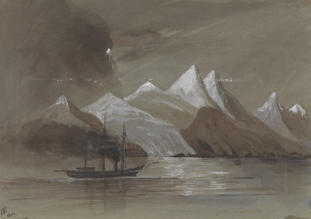 Detail of HMS 'Tribune' off Mount Sacramento 7000 ft high Magellan Straits S. America by Harry Edmund Edgell
