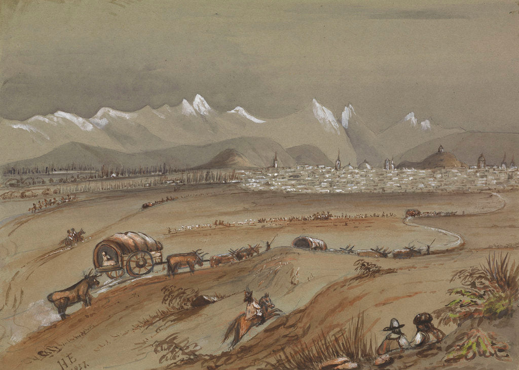 Detail of View of Santiago, Chile, 1857 showing the Andes by Harry Edmund Edgell