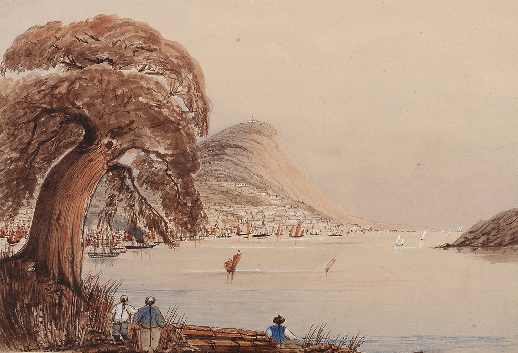 Detail of View of a coastal city with tree and figures in the foreground by Harry Edmund Edgell