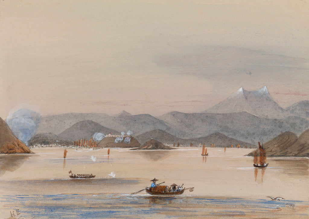 Detail of HMS 'Tribune's' galley 'Feeling the way off Chuenpee Canton River 1858' by Harry Edmund Edgell