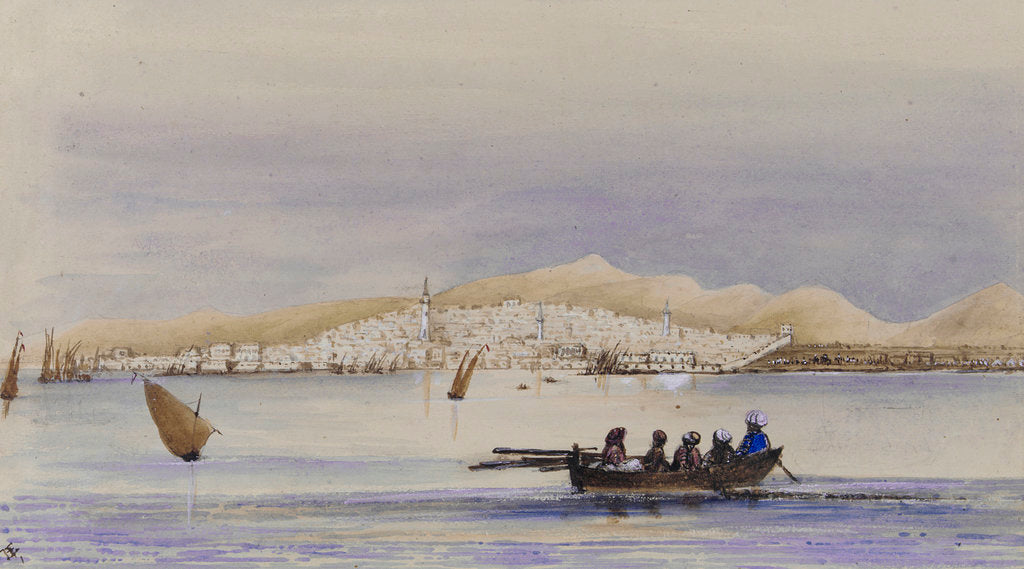 Detail of Arabian dressed figures in a rowing boat with town of Djeddah on the Red Sea in background by Harry Edmund Edgell