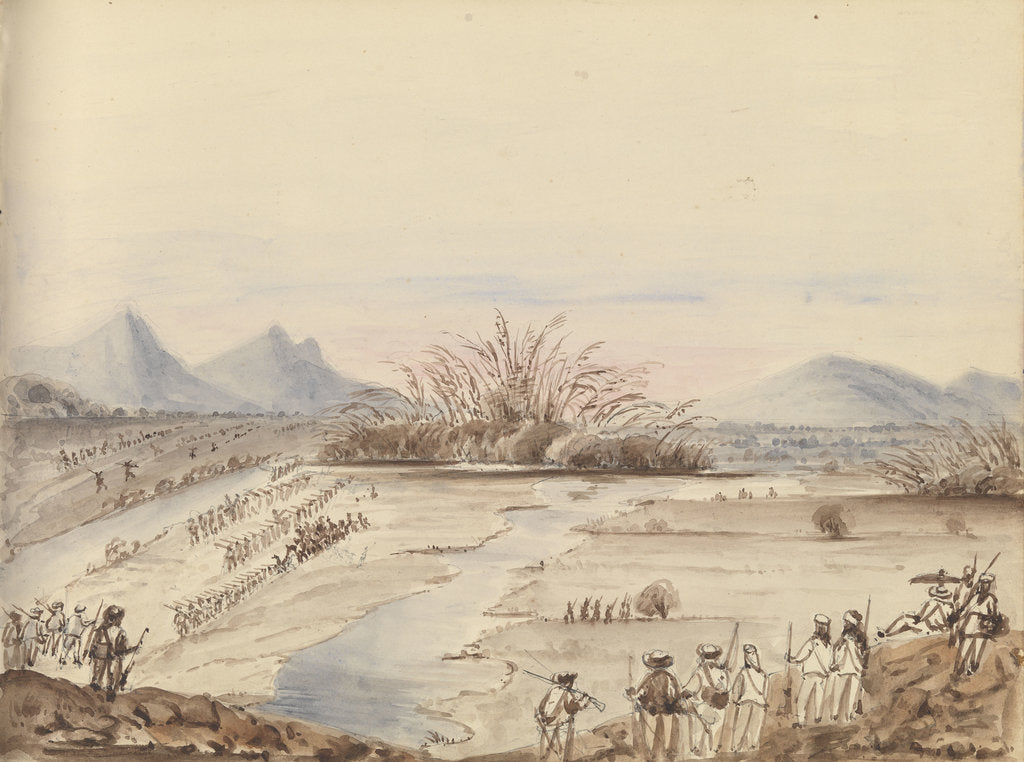 Detail of Battle of the White Cloud Mountains showing troops lined up either side of a river by Harry Edmund Edgell