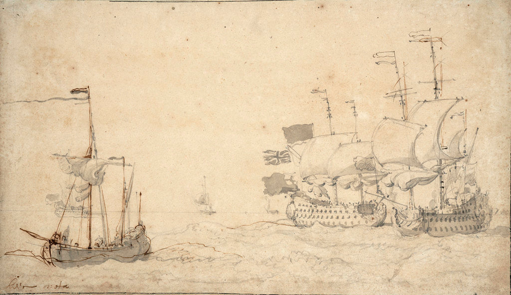 Detail of A ketch and two English ships in a breeze by Willem van de Velde the Elder