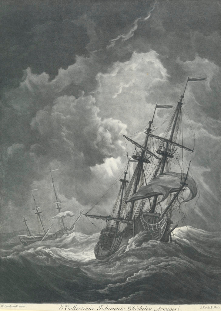 Detail of A ship scudding in a gale by Willem van de Velde the Elder