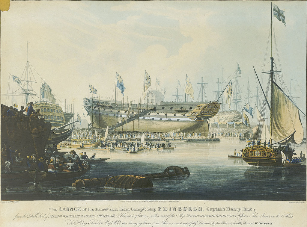 Detail of The Launch of the Honourable East India Company's Ship 'Edinburgh' from the dock yard of Messrs Wigrams & Green Blackwall with a view of the ship 'Abercrombie Robinson' on the stocks by William John Huggins