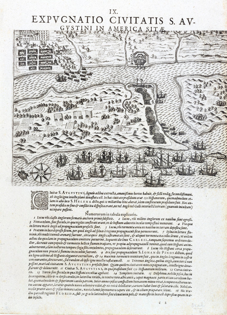 Drake's capture of St Augustine, Florida, May 1586 by Johannus Theodorus de Bry