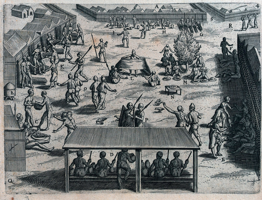 Detail of Voyage of the Dutch to the Gold Coast of Guinea, 1600. The market at Cape Corso by Johannus Theodorus de Bry