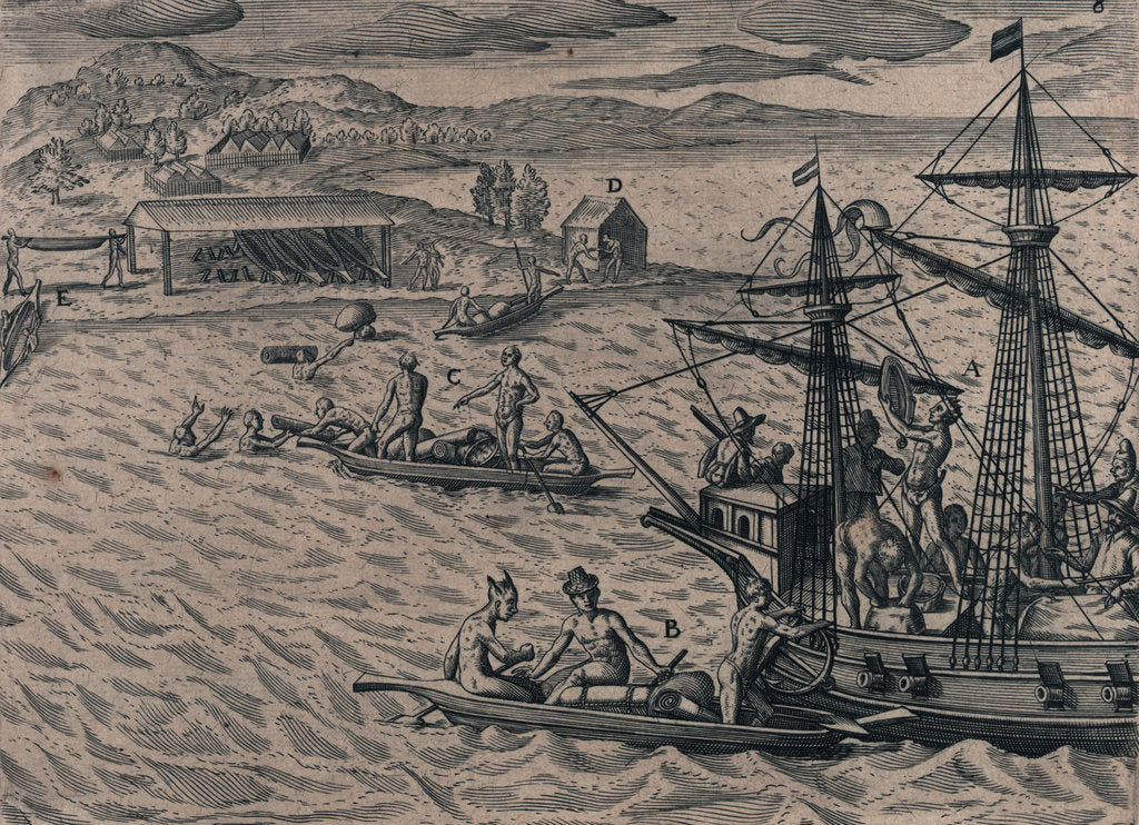 Detail of Voyage of the Dutch to the Gold Coast of Guinea, 1600 by Johannus Theodorus de Bry