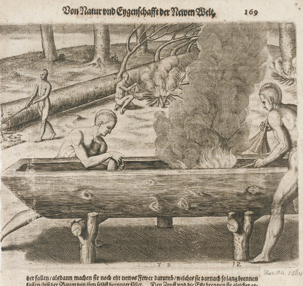 Detail of Natives hollowing tree trunks for boats, Florida 1564 by unknown