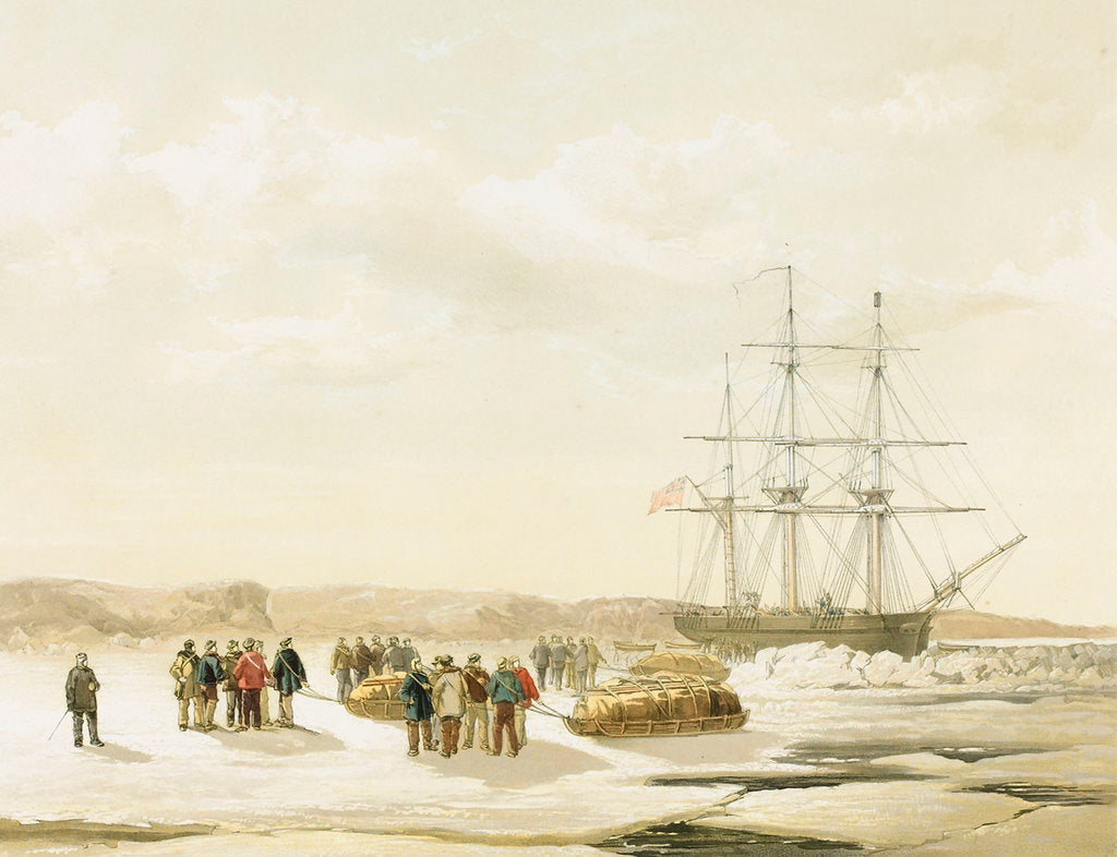 Detail of Sledge party leaving HMS 'Investigator' in Mercy Bay, under command of Lieutenant Gurney Cresswell, 15 April 1853 by S. Gurney Cresswell