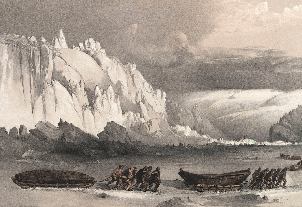 Detail of Division of sledges passing Cape Lady Franklin; extraordinary masses of ice pressed against the north shore of Bathurst Land by William Walter May
