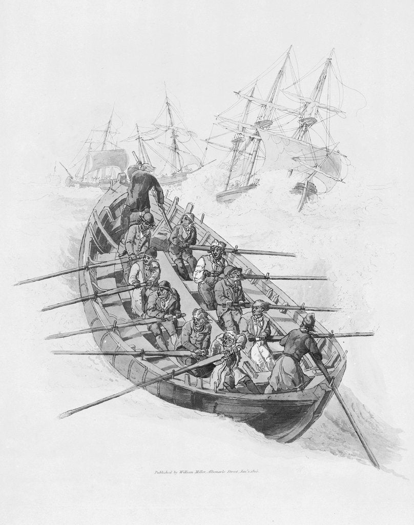 Detail of Eleven figures in a lifeboat going out to vessels in a rough sea by William Miller