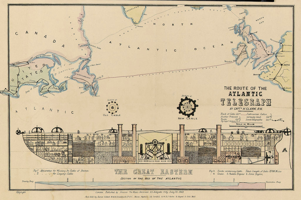Detail of The route of the Atlantic Telegraph, The 'Great Eastern' Section of the bed of the Atlantic by H. Clark