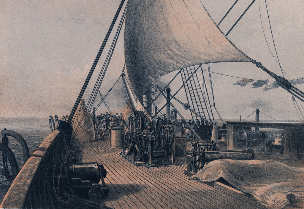 Detail of Forward deck cleared for the final attempt at grappling - 11 August 1865 by R. Dudley