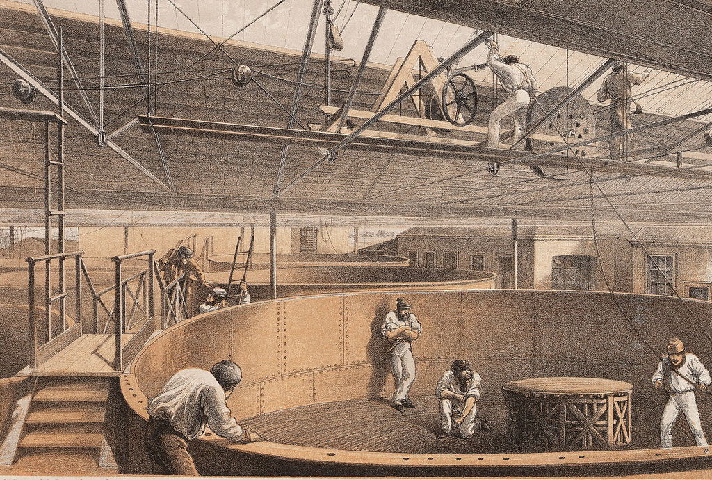 Detail of Coiling the cable in the large tanks at the works at Greenwich by R.M. Dudley
