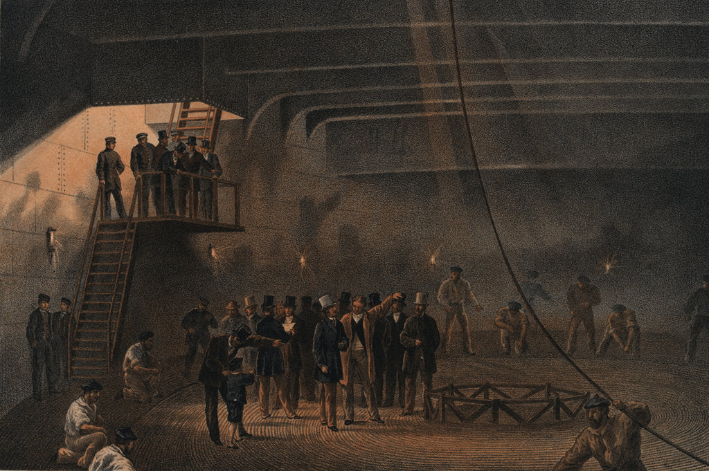 Detail of Coiling the cable in after tank on board the 'Great Eastern' at Sheerness - visit of HRH the Prince of Wales, 24 May 1865 by R. Dudley